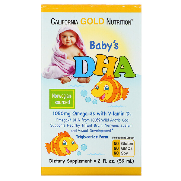 California Gold Nutrition, DHA para bebés, 1050 mg, Omega-3 con vitamina D3, 59 ml (2 oz. líq.)