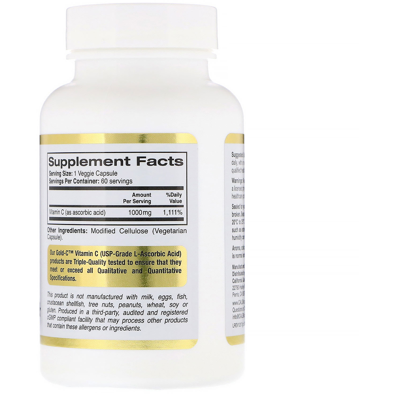 3adbb2a9369 California Gold Nutrition, Gold C, Vitamin C, 1,000 mg, 60 Veggie ...