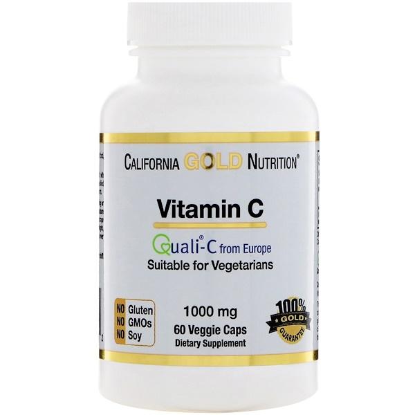 California Gold Nutrition, Vitamin C, 1,000 mg, 60 Veggie Caps