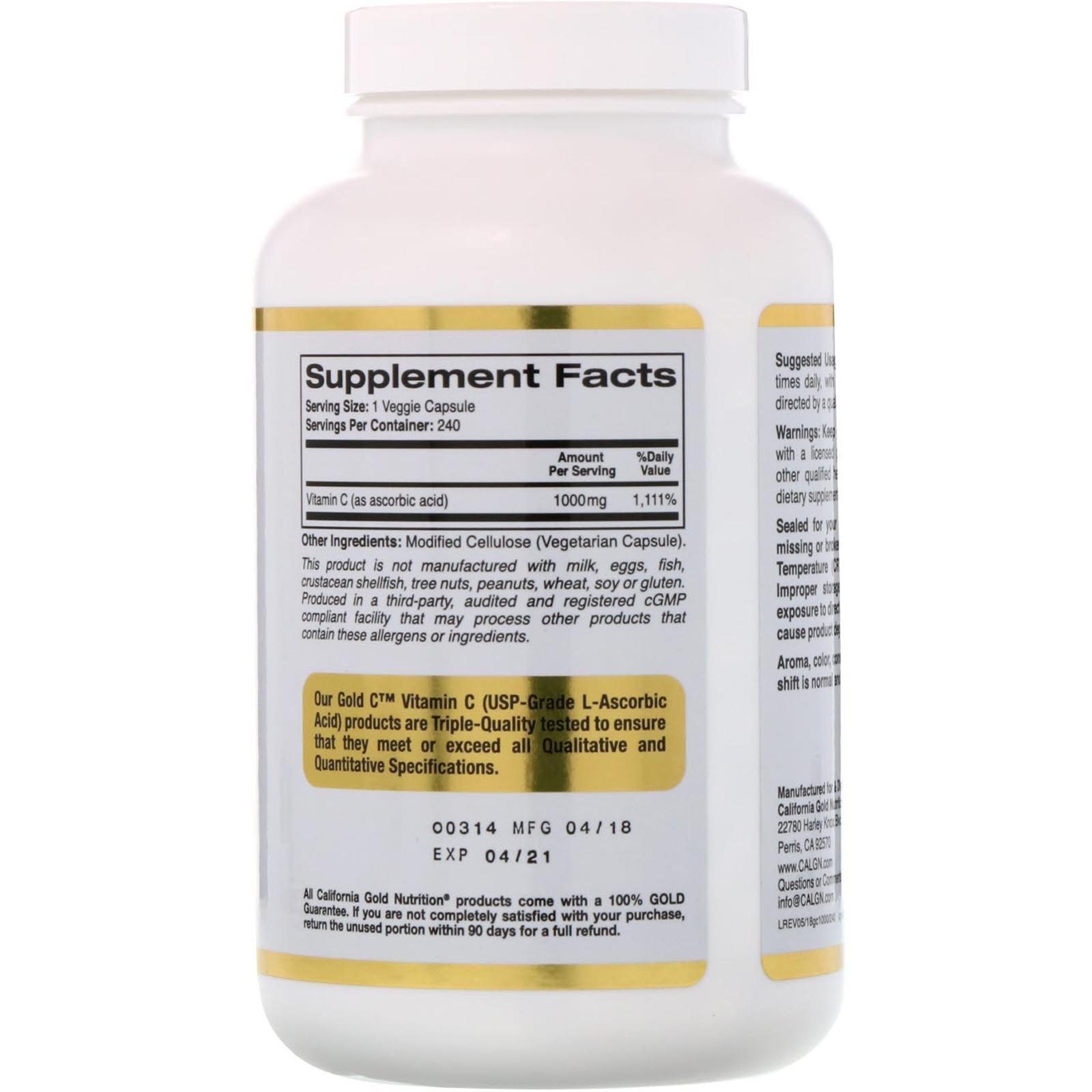 c02491a0ce6 California Gold Nutrition, Gold C, Vitamin C, 1,000 mg, 240 Veggie ...