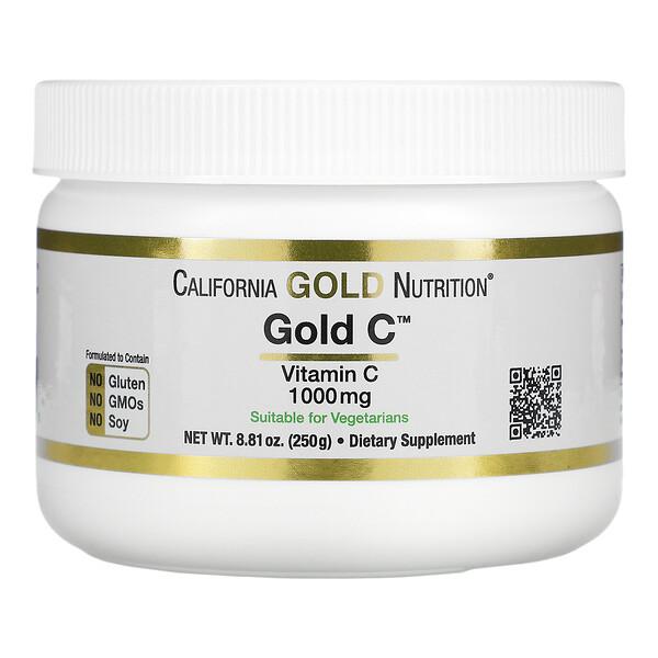 مسحوق Gold C، فيتامين جـ، 1000 ملجم، 8.81 أونصة (250 جم)