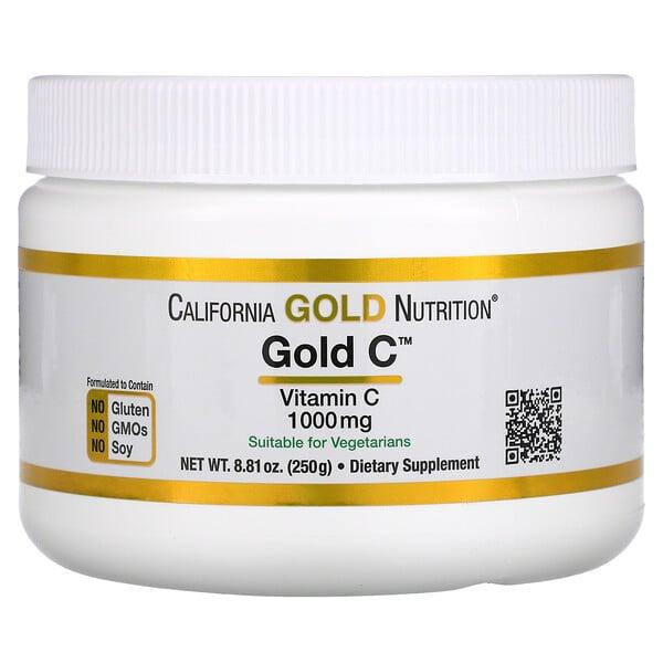 California Gold Nutrition, مسحوق Gold C، فيتامين جـ، 1000 ملجم، 8.81 أونصة (250 جم)