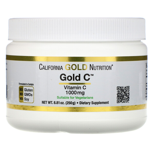 California Gold Nutrition, אבקת Gold C, משקל 250 גרם (8.81 אונקיות)