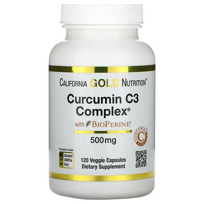 Купить California Gold Nutrition Curcumin C3 Complex с экстрактом BioPerine, 500мг, 120растительных капсул