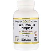 "California Gold Nutrition, Curcumin C3 Complex‏ עם BioPerine‏, 500 מ""ג, 120 כמוסות צמחוניות"