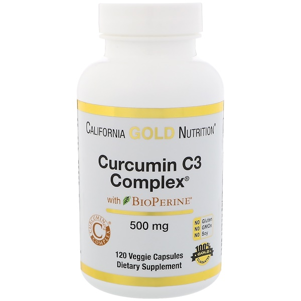 California Gold Nutrition, Curcumin C3 Complex with BioPerine, Turmeric Inflammation Support Formula, 500 mg, 120 Veggie Capsules