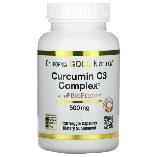 California Gold Nutrition, Curcumin C3 Complex المزود بـ BioPerine، ‏500 ملجم، 120 كبسولة نباتية