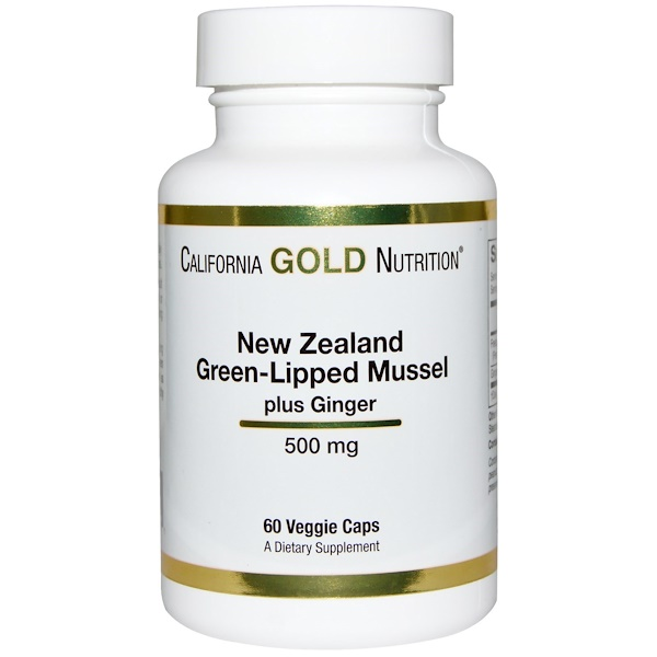 California Gold Nutrition, New Zealand, Green Lipped Mussel Plus Ginger, 500 mg, 60 Veggie Caps (Discontinued Item)