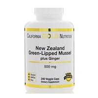 Новозеландский зеленогубый моллюск с имбирем, 500 мг, 240 капсул в растительной оболочке - фото