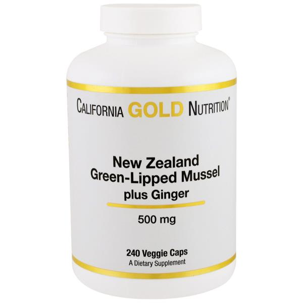 California Gold Nutrition, New Zealand, Green-Lipped Mussel Plus Ginger, 500 mg, 240 Veggie Caps