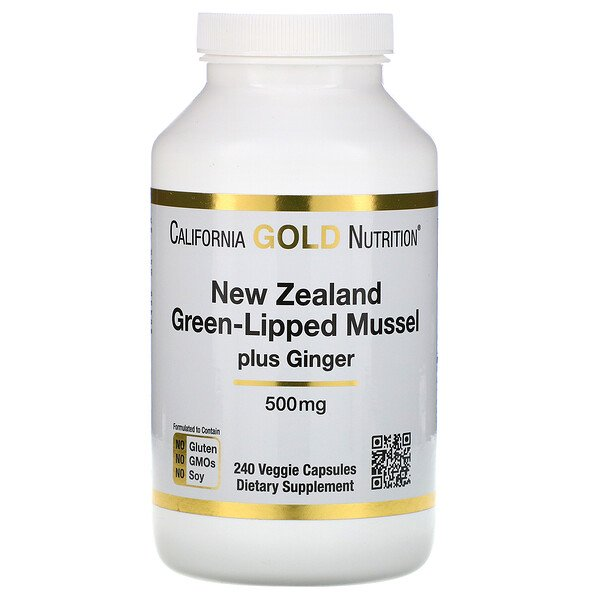 California Gold Nutrition, New Zealand, Green-Lipped Mussel Plus Ginger, Joint Health Formula, 500 mg, 240 Veggie Caps