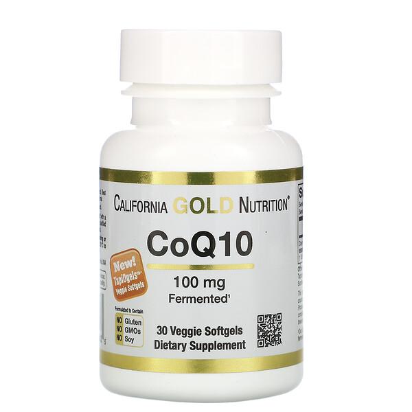 California Gold Nutrition, Коэнзим Q10, 100мг, 30растительных капсул