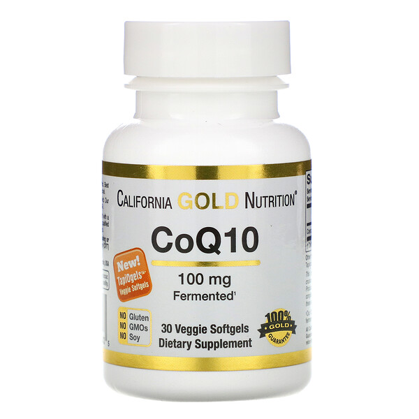 California Gold Nutrition, CoQ10, 100 mg, 30 Cápsulas Softgel Vegetais