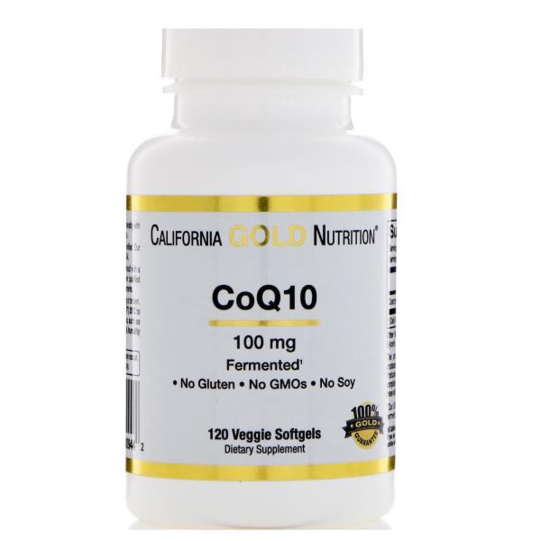 California Gold Nutrition, Коэнзим Q10, полученный с использованием процесса натурального брожения, 100 мг, 120 овощных капсул
