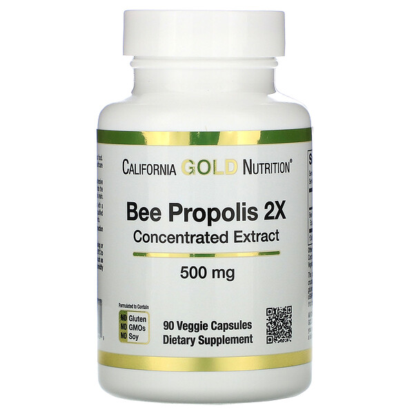 California Gold Nutrition, Propóleo de abeja 2X, Extracto concentrado, 500 mg, 90 cápsulas vegetales