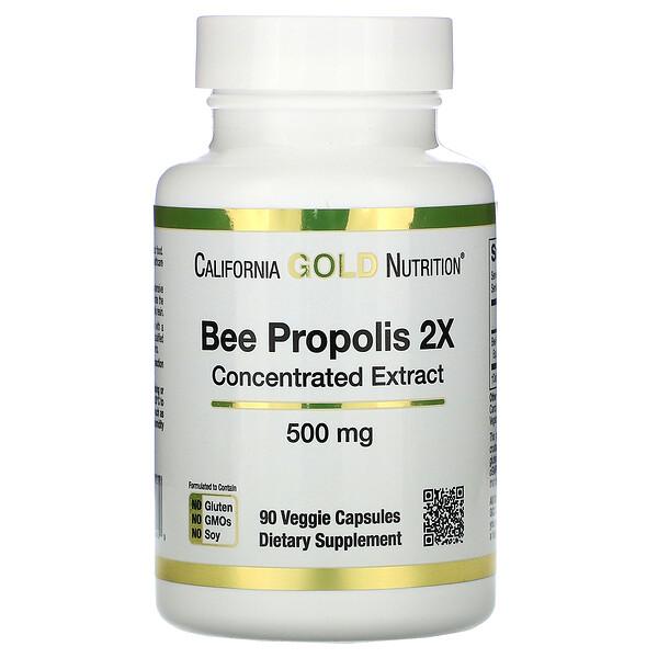 California Gold Nutrition, عكبر النحل 2X، مستخلص مركز، 500 ملجم، 90 كبسولة نباتية
