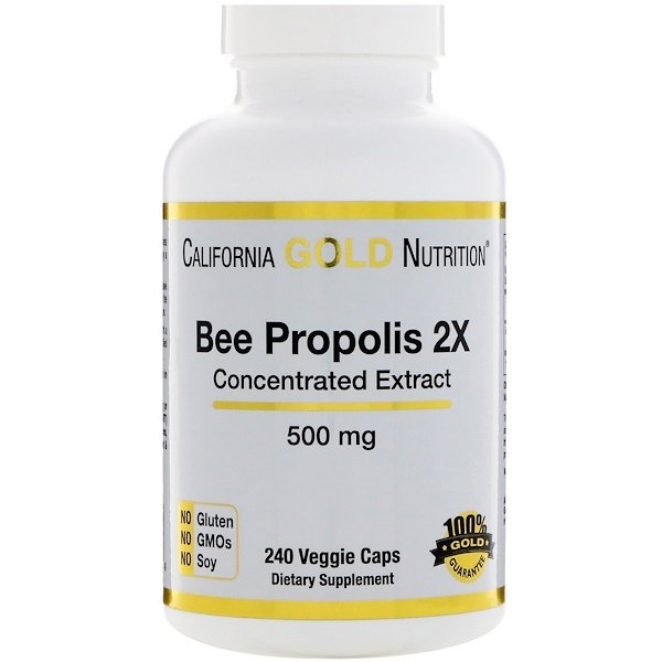 California Gold Nutrition, Propóleo de abeja 2X, Extracto concentrado, 500 mg, 240 cápsulas vegetales
