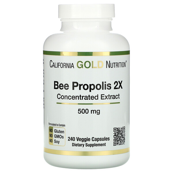 Bee Propolis 2X, Concentrated Extract, 500 mg, 240 Veggie Caps