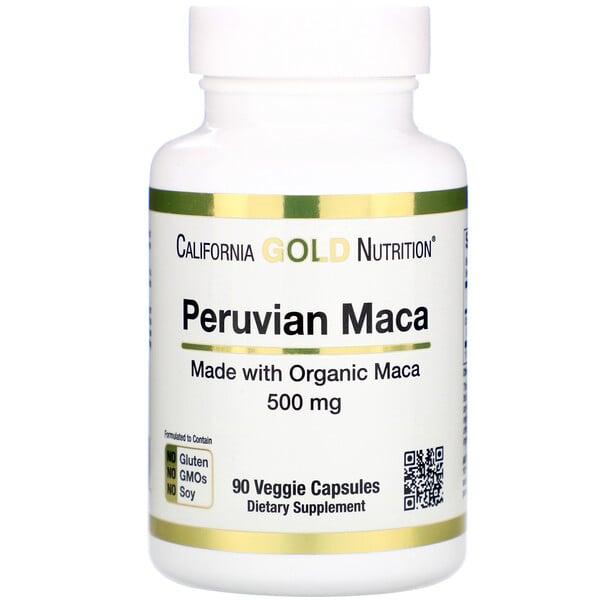 California Gold Nutrition, Maca Peruana, 500mg, 90 Cápsulas Vegetais