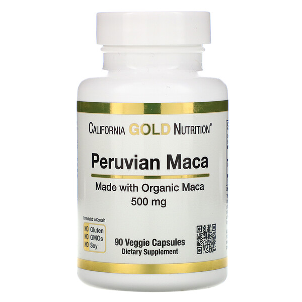 California Gold Nutrition, Maca peruana, 500 mg, 90 cápsulas vegetales