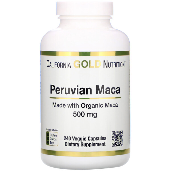California Gold Nutrition, Maca peruana, 500 mg, 240 cápsulas vegetales