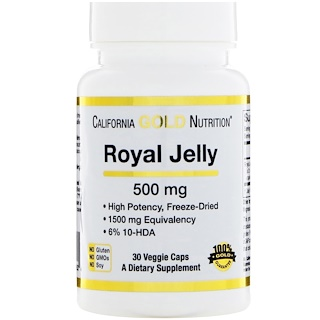 California Gold Nutrition, Gelée Royale, 500 mg, 30 vegetarische Kapseln