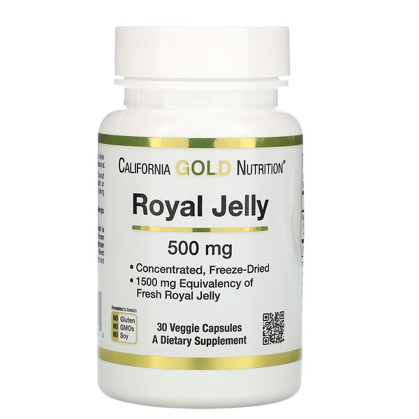 Royal Jelly, Concentrated & Freeze Dried, 500 mg, 30 Veggie Caps