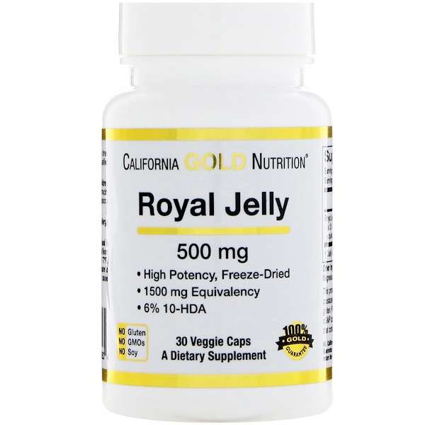 California Gold Nutrition, Royal Jelly、500 mg、30ベジタブルカプセル