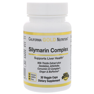 California Gold Nutrition, Silymarin, Milk Thistle Extract Complex, 300 mg, 30 Veggie Caps