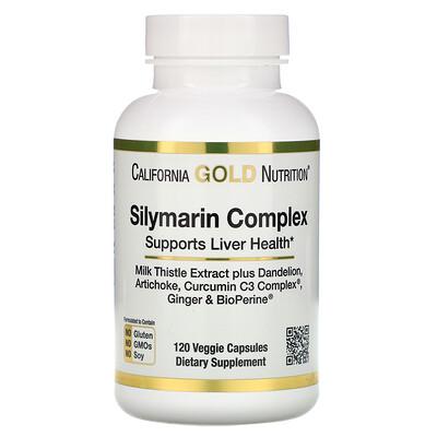 Силимариновый комплекс, здоровье печени, расторопша, куркумин, артишок, одуванчик, имбирь, черный перец, 300мг, 120растительных капсул