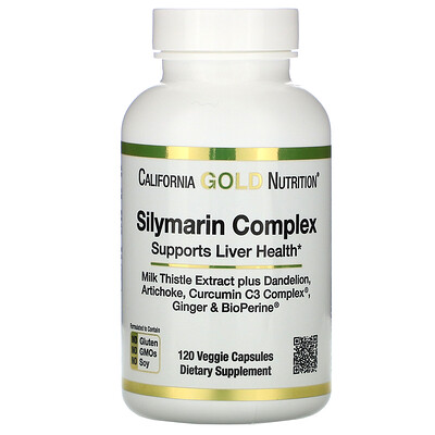California Gold Nutrition силимариновый комплекс, здоровье печени, расторопша, куркумин, артишок, одуванчик, имбирь, черный перец, 300мг, 120растительных капсул