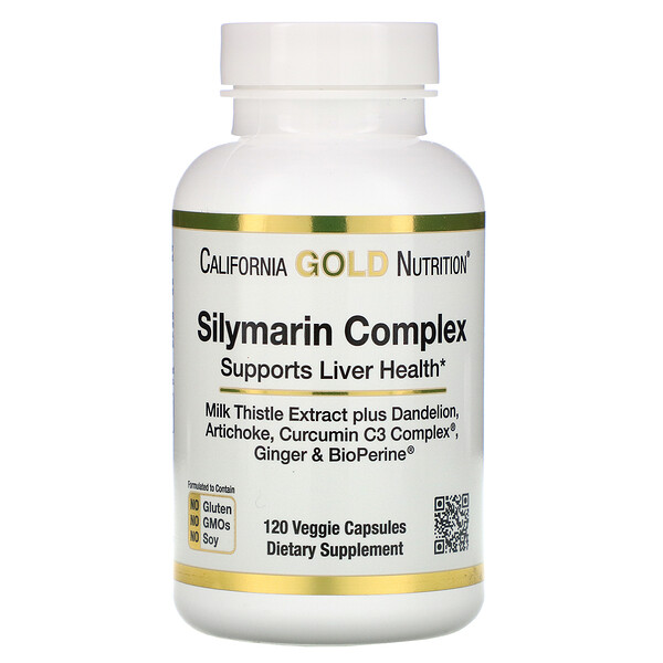 Complejo de silimarina, salud del hígado, cardo mariano, curcumina, alcachofa, diente de león, jengibre, pimienta negra, 300mg, 120 cápsulas vegetarianas