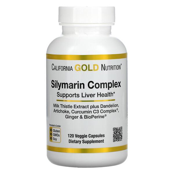 California Gold Nutrition, Silymarin Complex, Liver Health, Milk Thistle, Curcumin, Artichoke, Dandelion, Ginger, Black Pepper, 300 mg, 120 Veggie Capsules