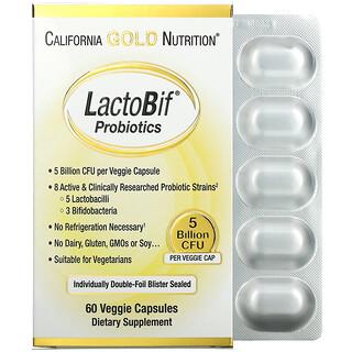 California Gold Nutrition, LactoBif, пробиотики, 5млрдКОЕ, 60растительных капсул