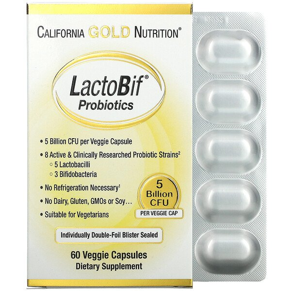 California Gold Nutrition, LactoBif 益生菌,50 億 CFU,60 粒素食膠囊