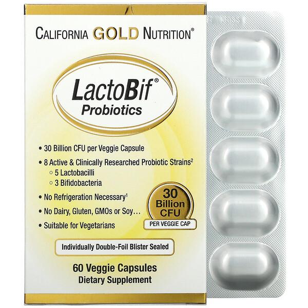 LactoBif, пробиотики, 30млрдКОЕ, 60вегетарианских капсул