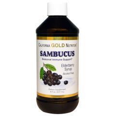 California Gold Nutrition, セイヨウニワトコ、エルダーベリーシロップ、アルコールフリー, 8 fl oz (237 ml)