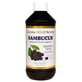 California Gold Nutrition, Sambucus, Organic Elderberry Syrup, Alcohol Free, 8 fl oz (237 ml)