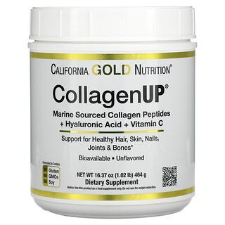 California Gold Nutrition, CollagenUP، كولاجين بحري متحلل مائيًا + حمض الهيالورونيك + فيتامين جـ، خالٍ من النكهات، 16.37 أونصة (464 جم)