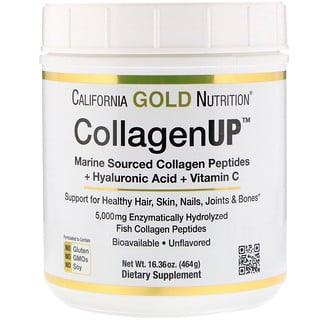 California Gold Nutrition, Collagen UP, Marine Sourced Collagen Peptides + Hyaluronic Acid + Vitamin C, Unflavored, 16.36 oz (464 g)