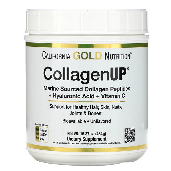 California Gold Nutrition, CollagenUP, Marine Hydrolyzed Collagen + Hyaluronic Acid + Vitamin C, Unflavored, 16.37 oz (464 g)