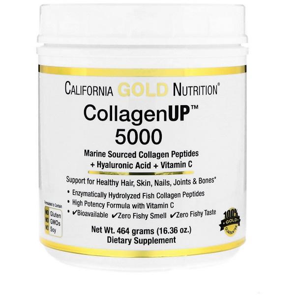 California Gold Nutrition, Collagen UP™ 5000, Marine-Sourced Collagen Peptides + Hyaluronic Acid & Vitamin C, 16.36 oz (464 g)