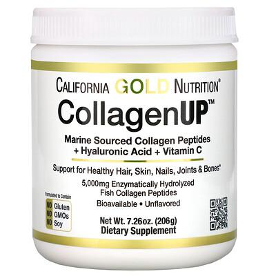 Купить CollagenUP, морской коллаген, гиалуроновая кислота и витаминC, без ароматизаторов, 206г (7, 26унции)