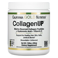 California Gold Nutrition, CollagenUP, Collagène marin hydrolysé + Acide hyaluronique + Vitamine C, Sans arôme, 206 g