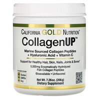 California Gold Nutrition, CollagenUP, मरीन कोलाजन + हायलूरॉनिक एसिड + विटामिन सी, फ़्लेवर रहित, 7.26 आउंस (206 ग्राम)