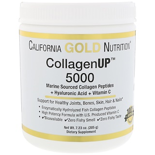 California Gold Nutrition, Collagène UP 5000, Peptides de collagène d'origine marine + Acide hyaluronique + Vitamine C, 7,23 oz (205 g)