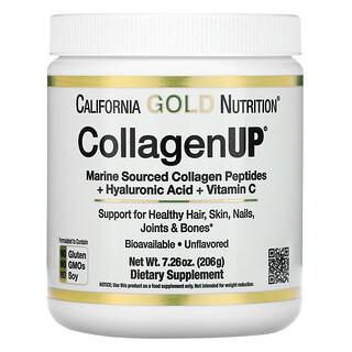 California Gold Nutrition, CollagenUP, морской гидролизованный коллаген, гиалуроновая кислота и витаминC, с нейтральным вкусом, 206г (7,26унции)