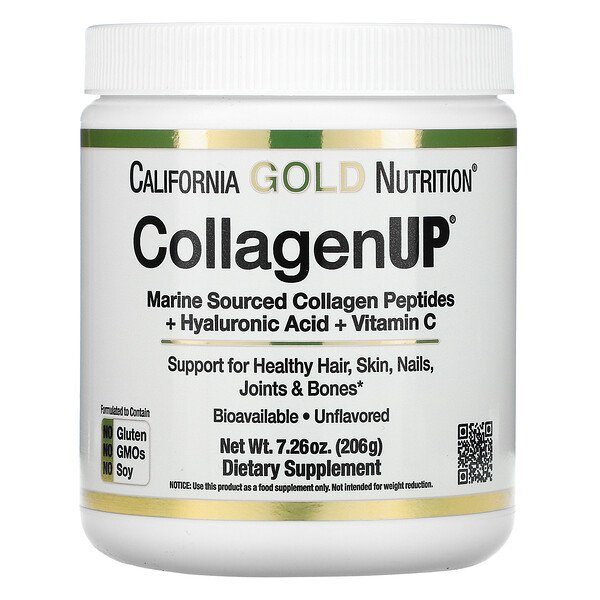 California Gold Nutrition, CollagenUP, Marine Hydrolyzed Collagen + Hyaluronic Acid + Vitamin C, Unflavored, 7.26 oz (206 g)