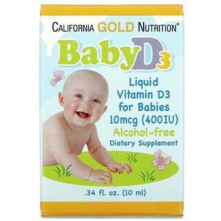 California Gold Nutrition, Baby Vitamin D3 Liquid, 10 mcg (400 IU), 0.34 fl oz (10 ml)