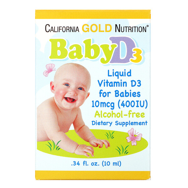 California Gold Nutrition, Gotas de vitamina D3 para bebés, 400 UI, 10 ml (0,34 oz. líq.)